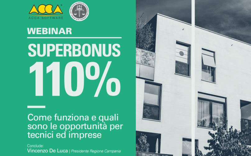 """Webinar """"SUPERBONUS 110% – Come funziona e quali sono le opportunità per tecnici ed imprese"""""""