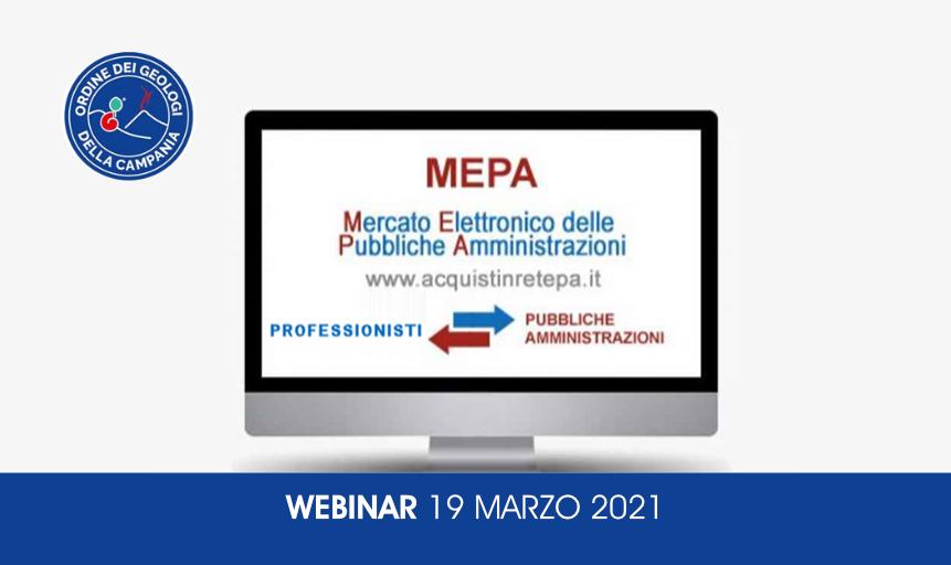 "Webinar ""Gare telematiche per servizi di Geologia e di Ingegneria: MePA ed altre Piattaforme di e-procurement"""